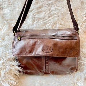Fossil Brown Leather Messenger Laptop Bag
